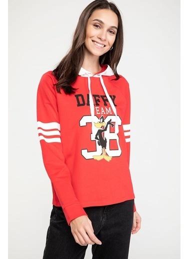 DeFacto Kapüşonlu Daffy Duck Baskılı Lisanslı Sweatshirt Kırmızı